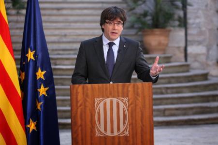 Carles Puigdemont, presidente della Generalitat de Catalunya, leader del movimento indipendentista